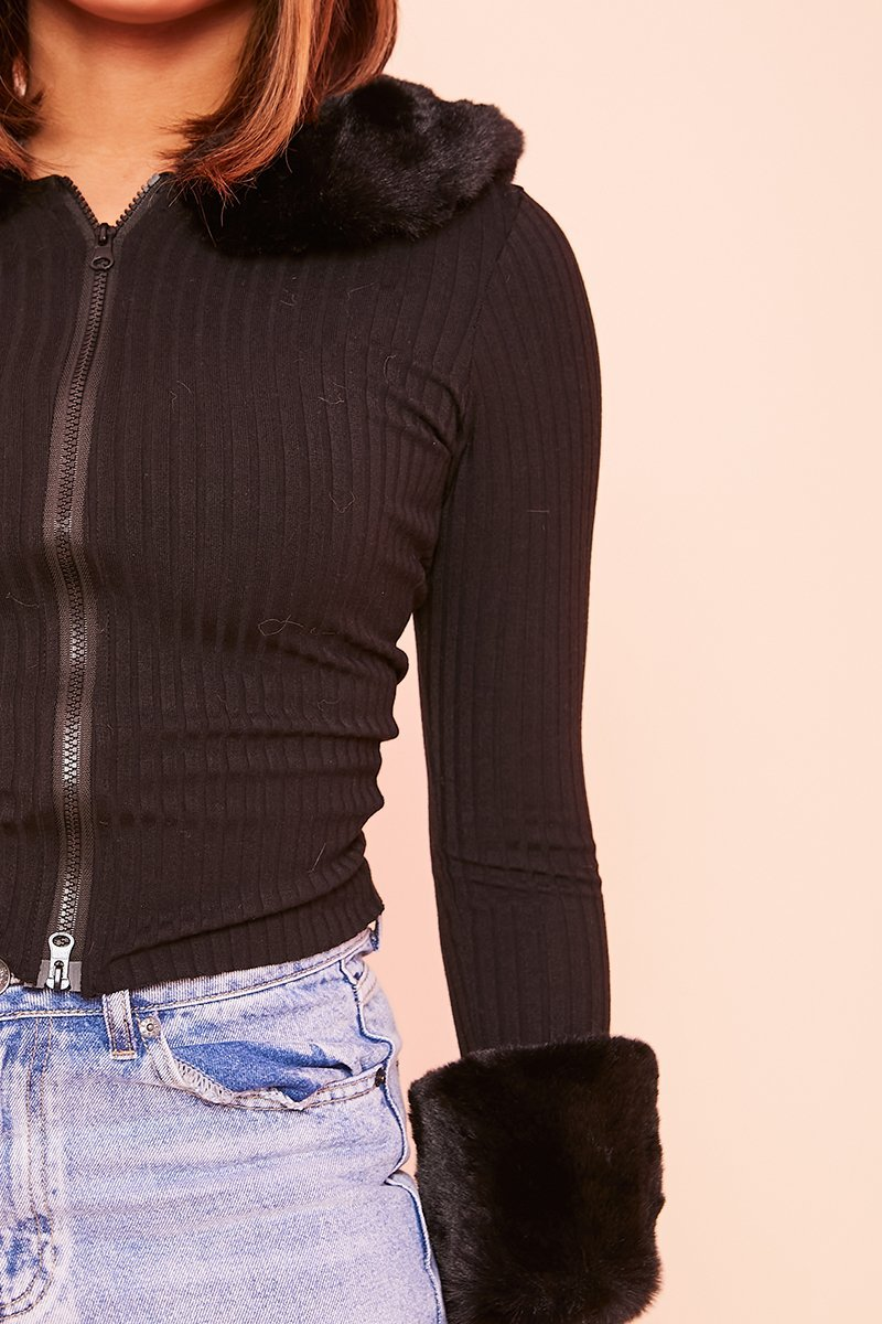 Black Double Zip Faux Fur Top- Joni - KATCH ME