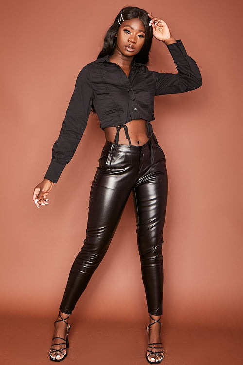 Black Drawstring Cropped Shirt - Axelle - KATCH ME
