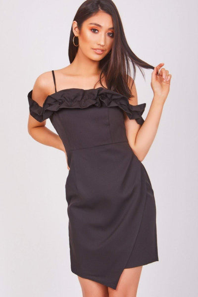 Black Dress With Frill Detail - KATCH ME