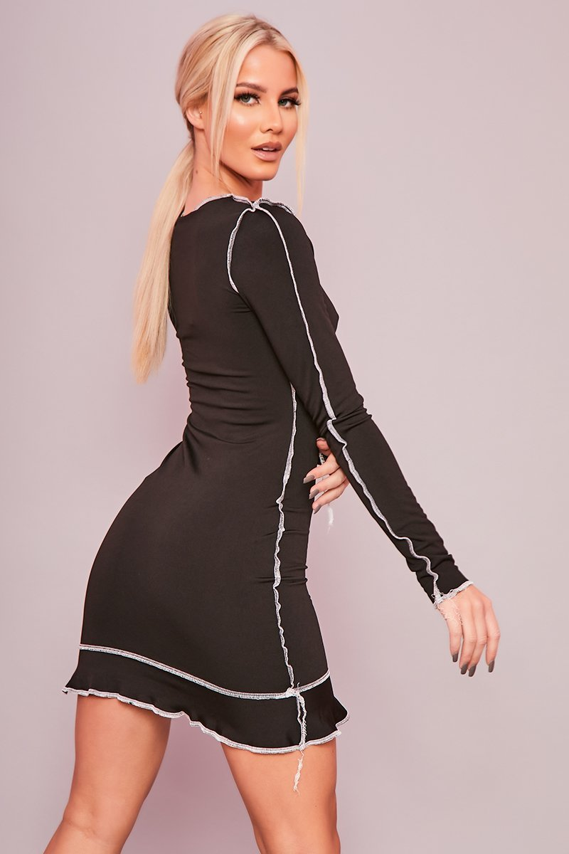 Black Exposed Seam Bodycon Dress - Daya - KATCH ME