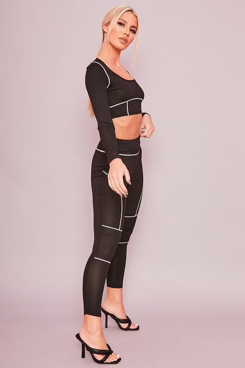 Black Exposed Seam Leggings - Dora - KATCH ME