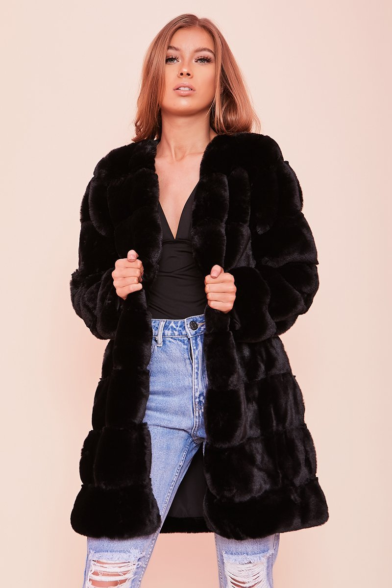 Black Faux Fur Coat- Mabel - KATCH ME