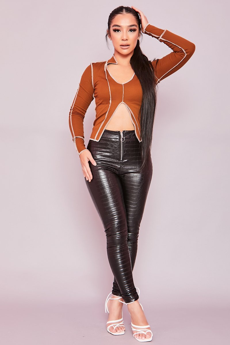 Black Faux Leather Croc Trousers- Fionnuala - KATCH ME