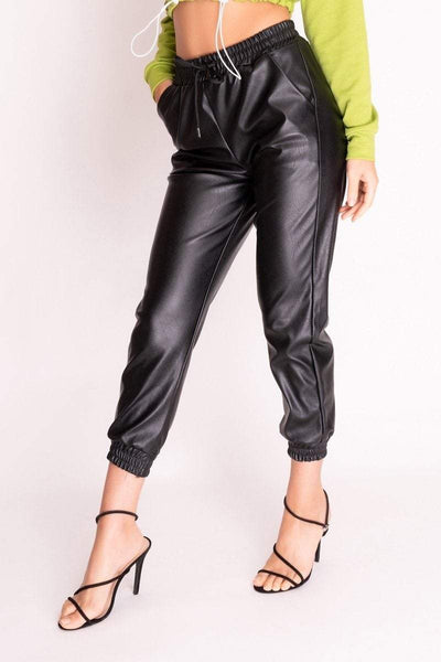 Black Faux Leather Cuffed Joggers - KATCH ME
