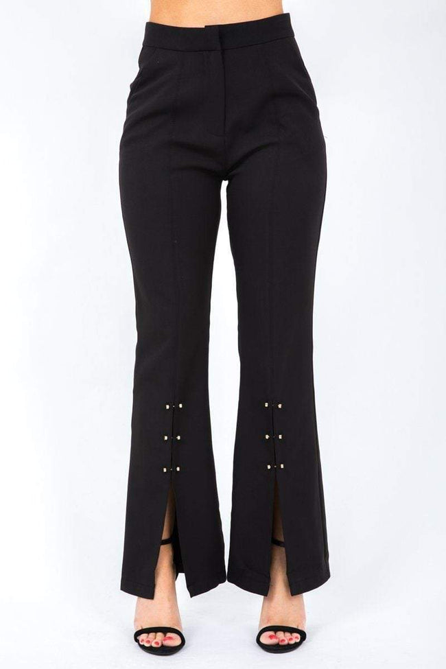 Black Flare Trousers with Gold Rivets - KATCH ME