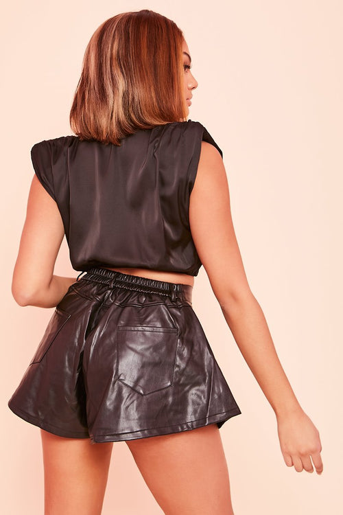 Black Flared Faux Leather Shorts - Adalynn - KATCH ME