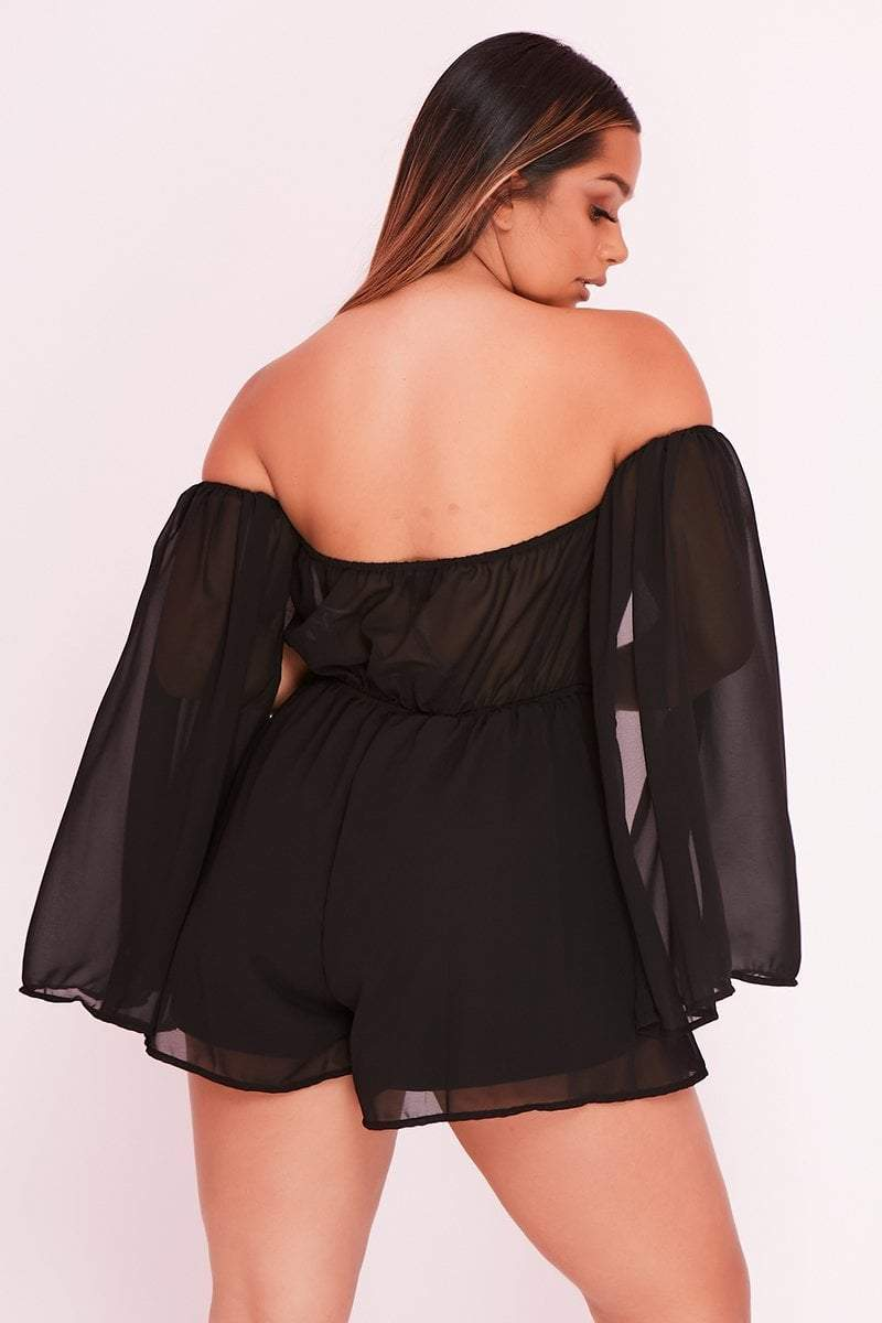 Black Flared Sleeve Bardot Cut Out Playsuit- Alice - KATCH ME