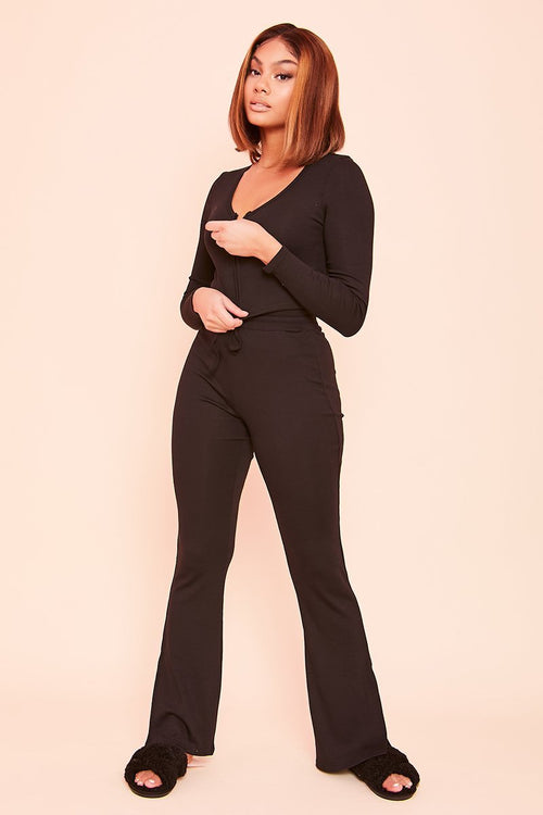 Black Flared Split Leg Joggers- Cherel - KATCH ME