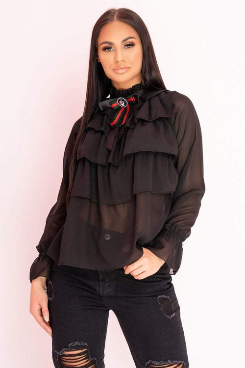 Black Frill layered Neck Tie Shirt - KATCH ME