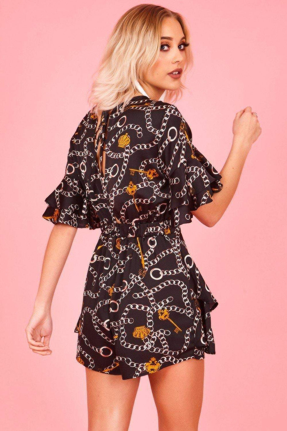 Black & Gold Frill Sleeve Baroque Playsuit - KATCH ME