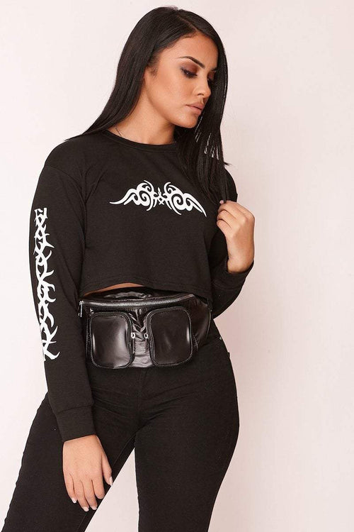 Black Graphic Print Cropped Sweater - KATCH ME