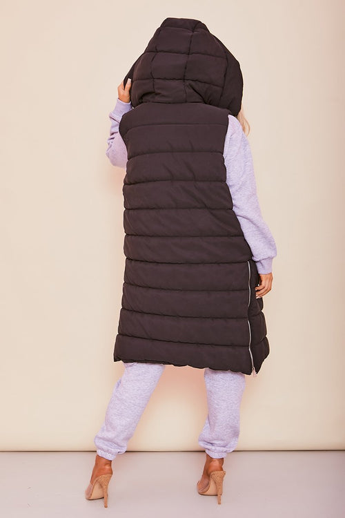 Black Hooded Longline Sleeveless Parka- Arianna - KATCH ME