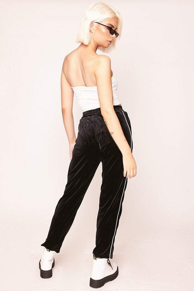 Black Jogger Style Trousers with White Piping - KATCH ME