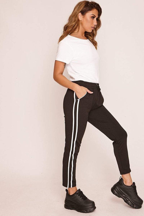 Black Joggers with White Piping - KATCH ME