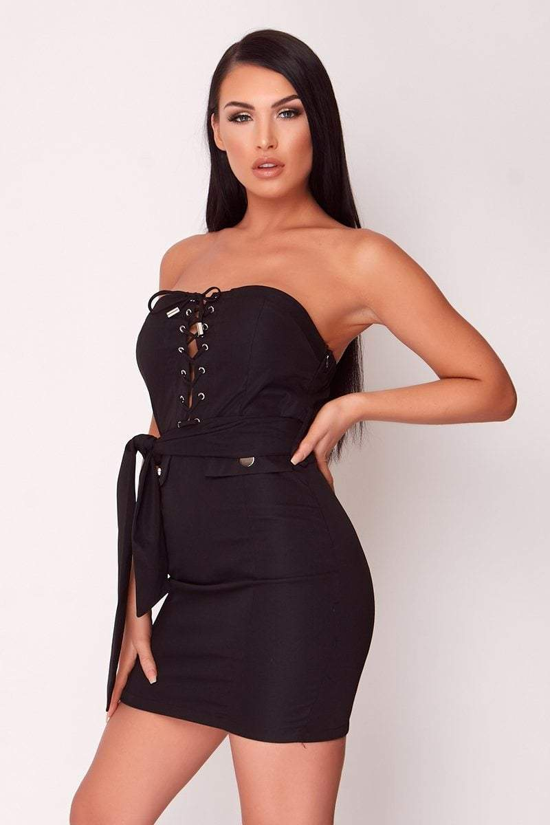 Black Lace-Up Utility Dress - KATCH ME