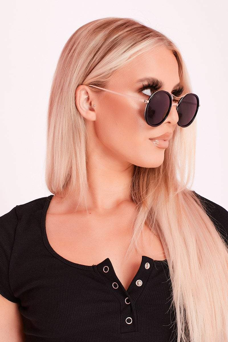 Black Large Mirror Lens Aviator Sunglasses- Addison - KATCH ME
