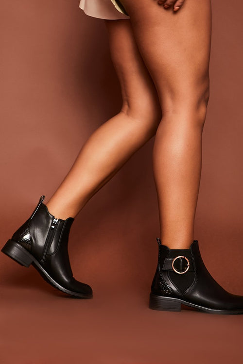 Black Leather Ankle Boots - Cristen - KATCH ME