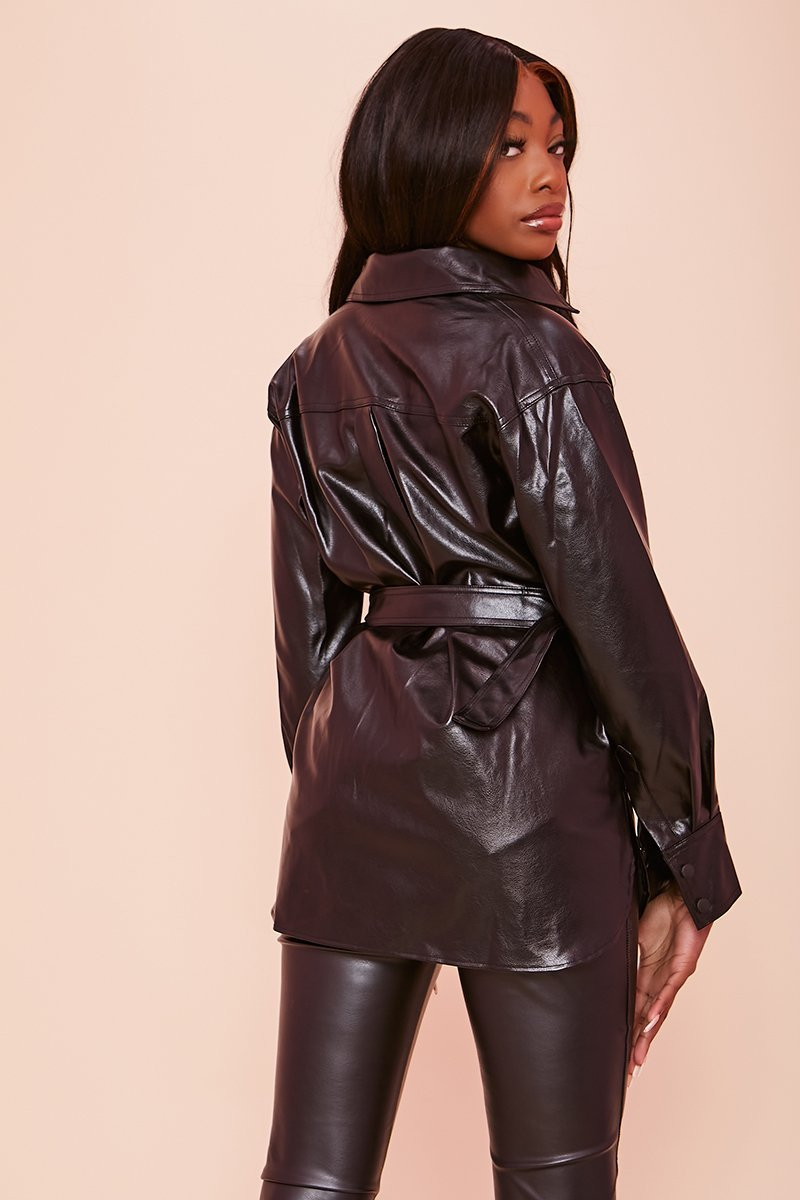 Black Leather PU Jacket - Hilary - KATCH ME