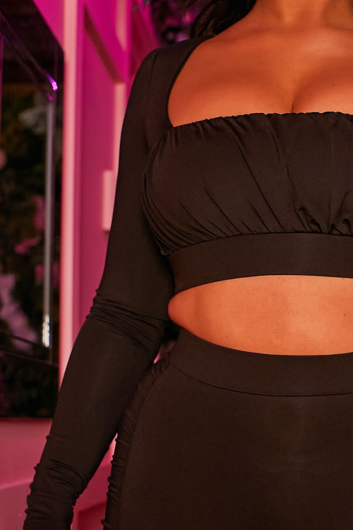 Black Long Sleeved Crop Top - Clelia - KATCH ME