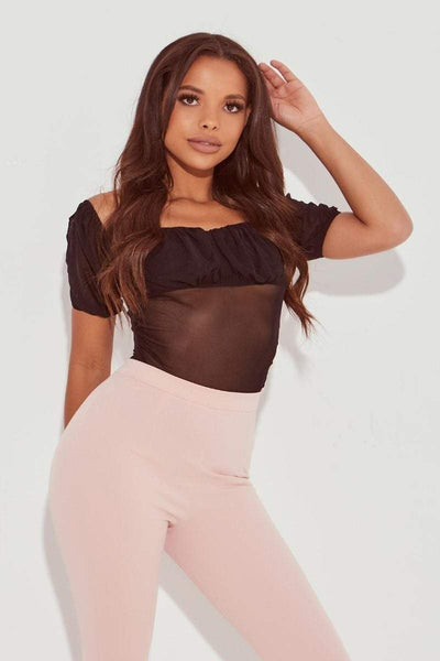 Black Mesh Puff Sleeve Bodysuit- Sammy - KATCH ME