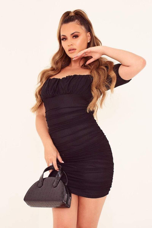 Black Mesh Puff Sleeve Mini Dress - Abbie - KATCH ME