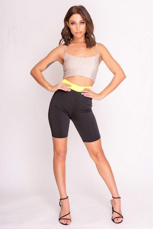 Black & Neon Cycling Shorts - KATCH ME