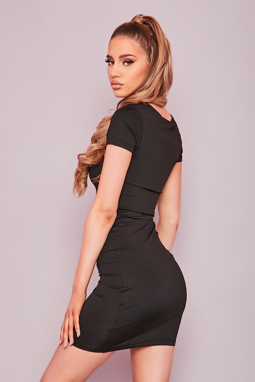 Black Notch Neck Mini Dress- Ashanti - KATCH ME