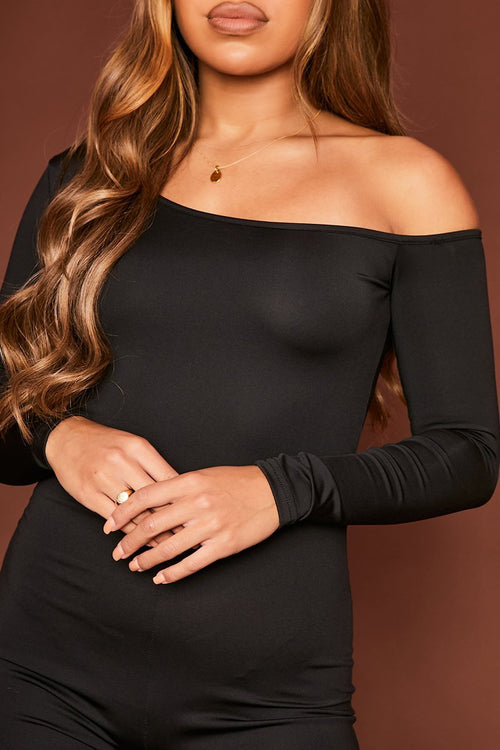 Black Off The Shoulder Jumpsuit - Tonya - KATCH ME