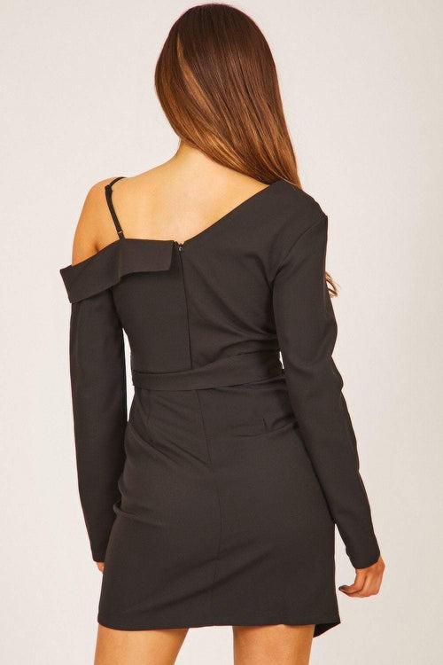 Black One Shoulder Wrap Dress - KATCH ME