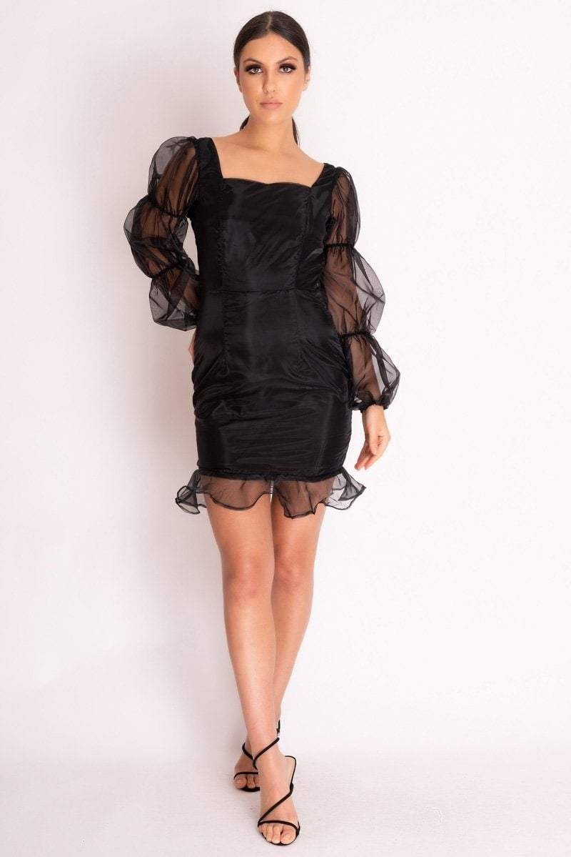 Black Organza Sleeve Frill Dress - KATCH ME