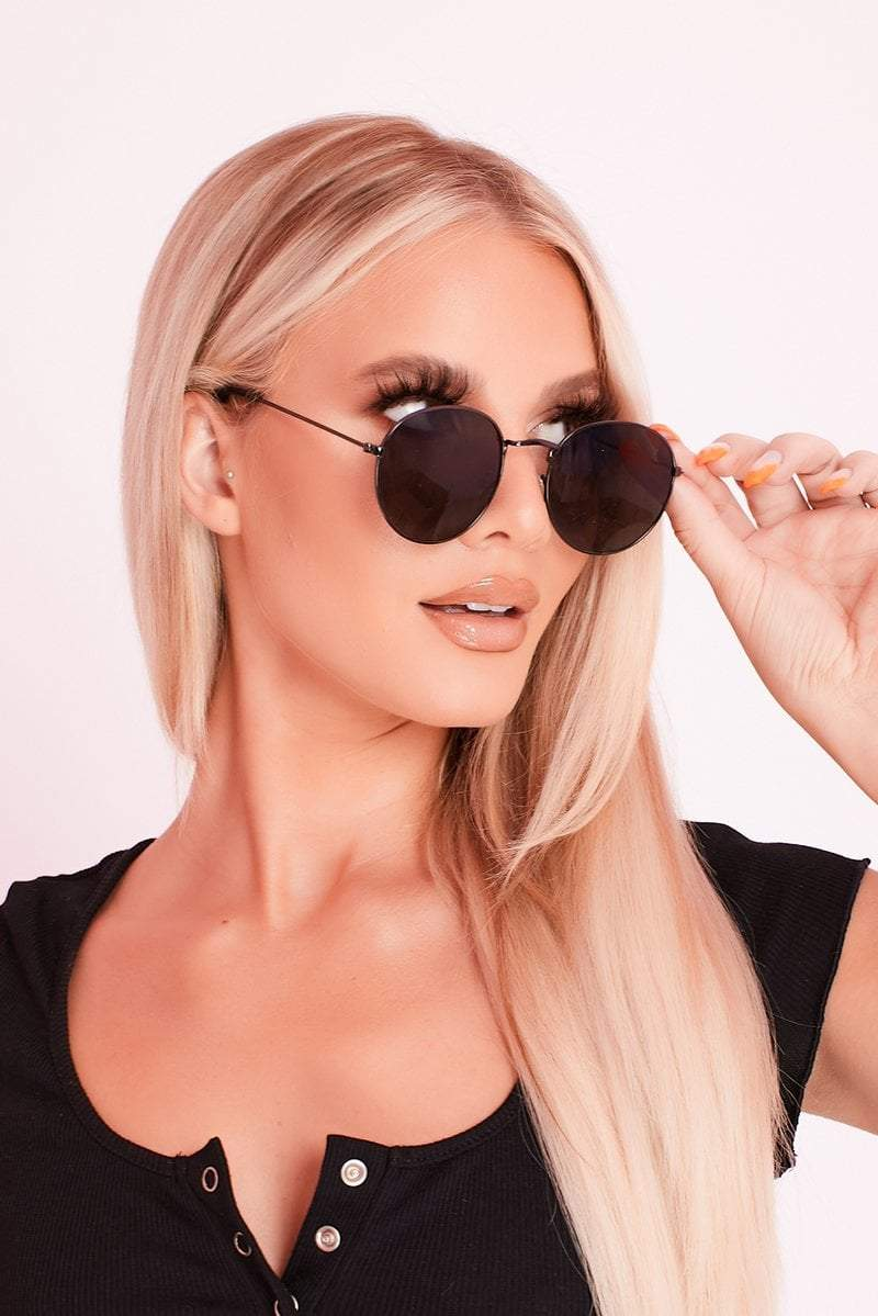 Black Oval Shape Sunglasses- Eleanor - KATCH ME