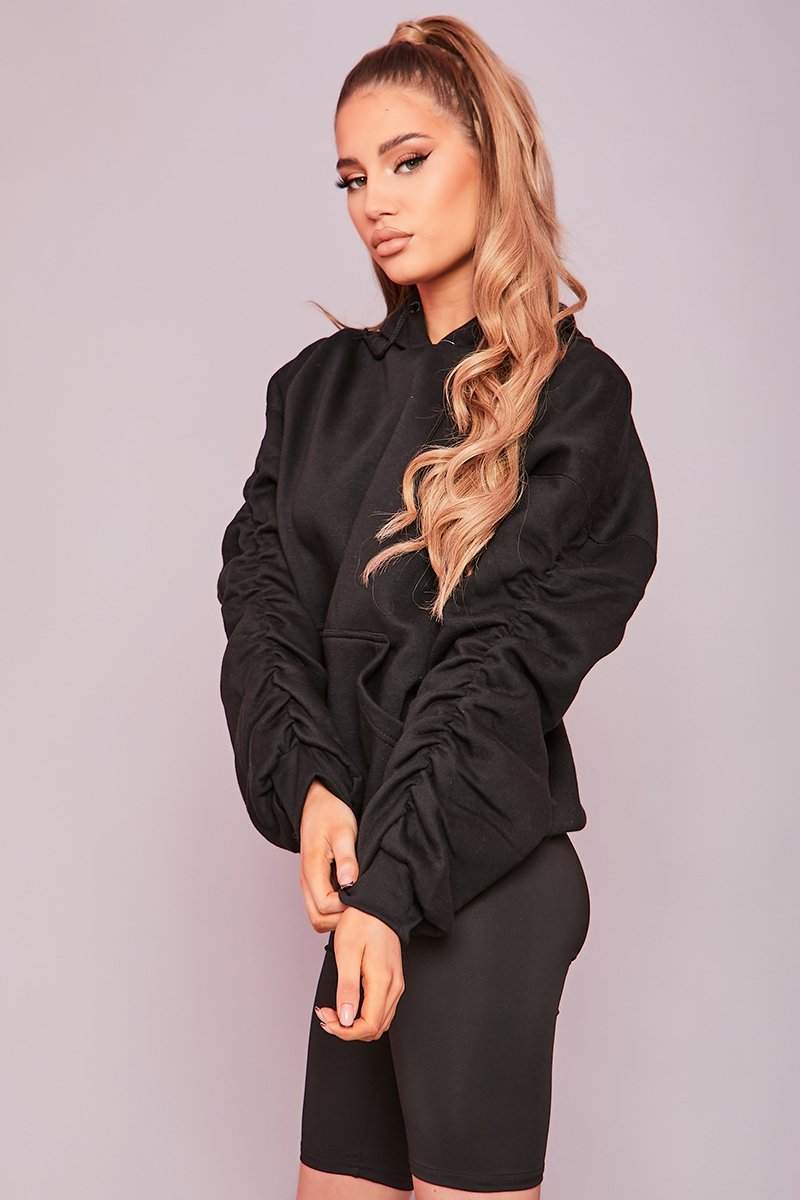 Black Oversized Ruched Sleeve Hoodie- Dolly - KATCH ME