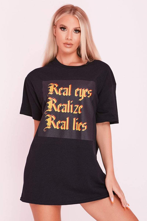 Black Oversized T-Shirt with Slogan Graphic Print- Hazel - KATCH ME