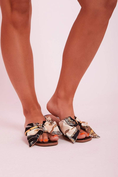 Black Patent Scarf Print Bow Sliders- Riley - KATCH ME