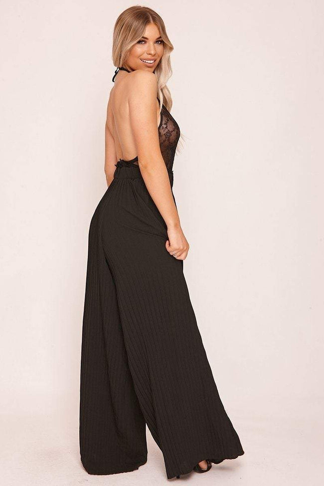 Black Pleated Palazzo Trousers - KATCH ME