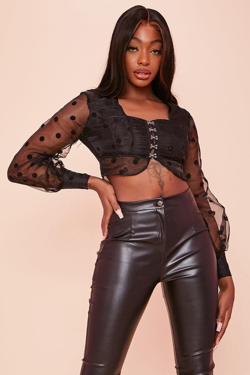 Black Polka Dot Hook & Eye Mesh Crop Top- Zaniyah - KATCH ME