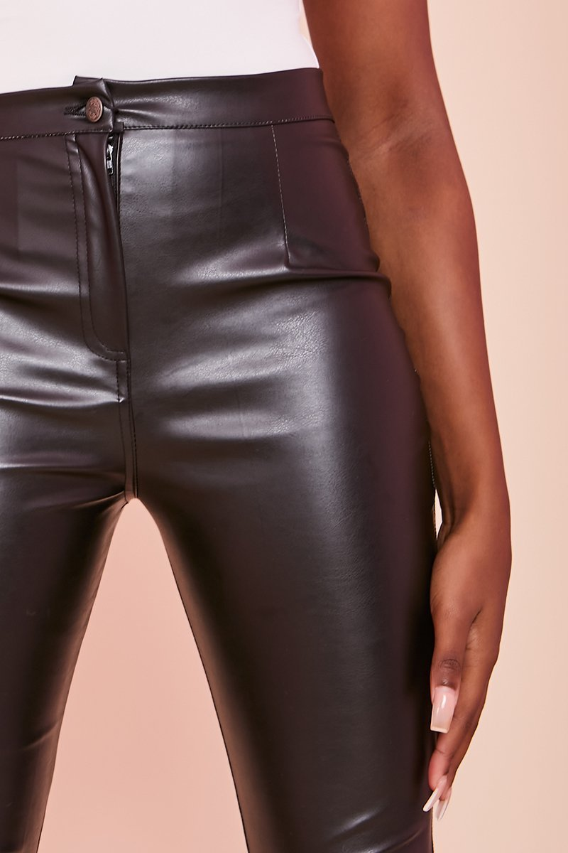 Black PU Leather Trousers - Kate - KATCH ME