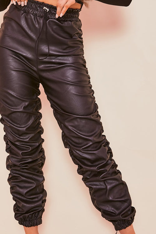 Black PU Ruched Seam Trousers- Kimberly - KATCH ME