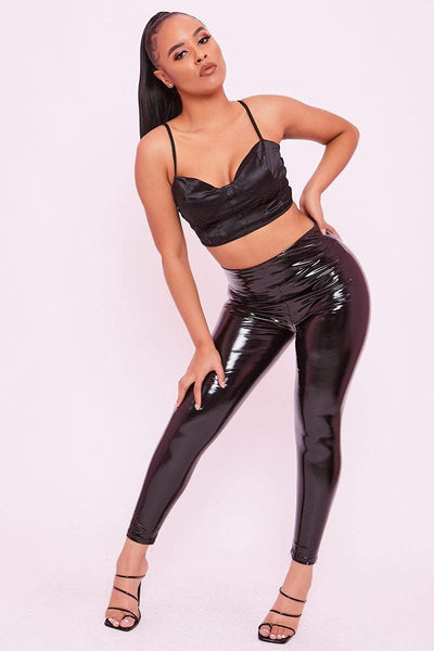 Black PU Vinyl Trousers - Audrey - KATCH ME