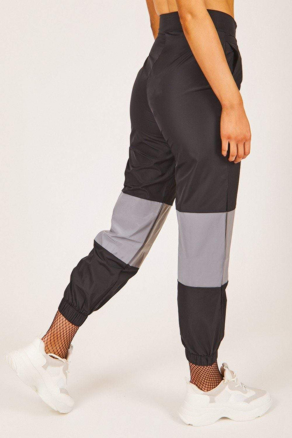 Black Reflective Panel Zip Up Joggers - KATCH ME