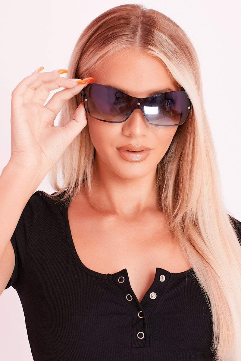 Black Retro Ombre Cycling Style Sunglasses- Hannah - KATCH ME