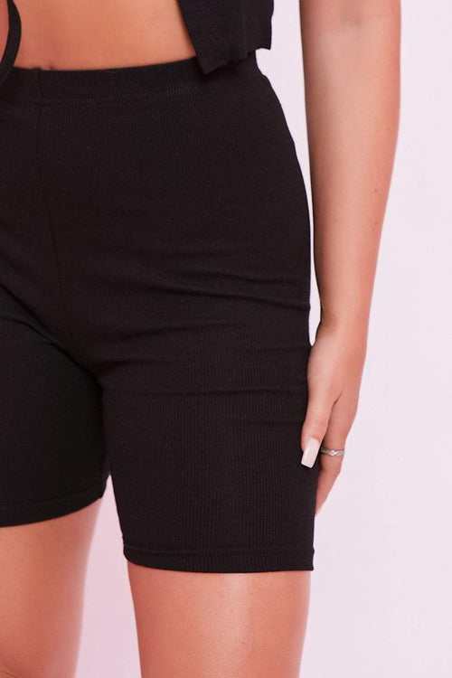 Black Ribbed Cycling Shorts - Angelica - KATCH ME