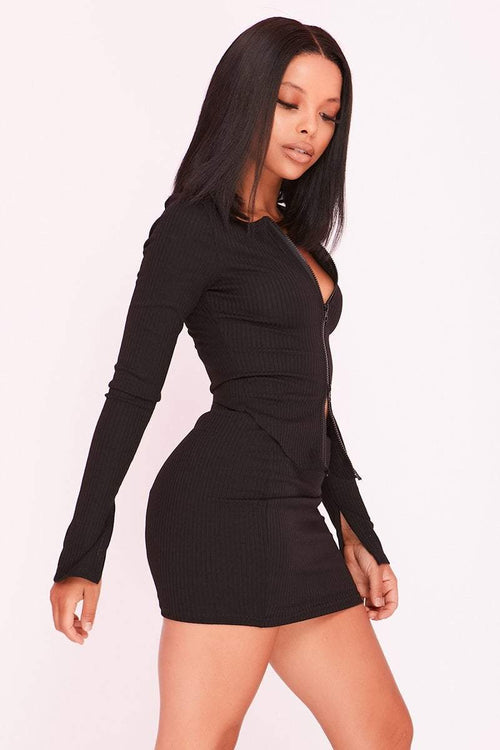 Black Ribbed Double Zip Top & Skirt Co-ord - KATCH ME