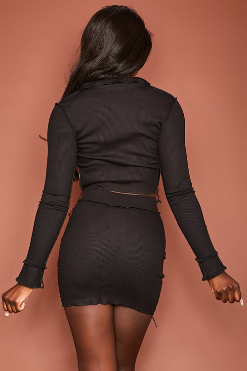 Black Ribbed Mini Skirt - Devin - KATCH ME