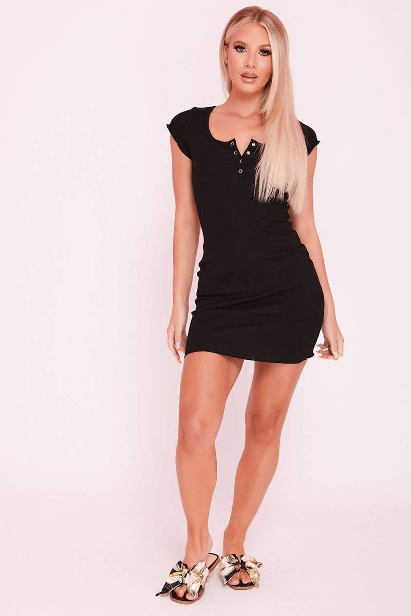 Black Ribbed Popper Mini Dress- Vivvian - KATCH ME