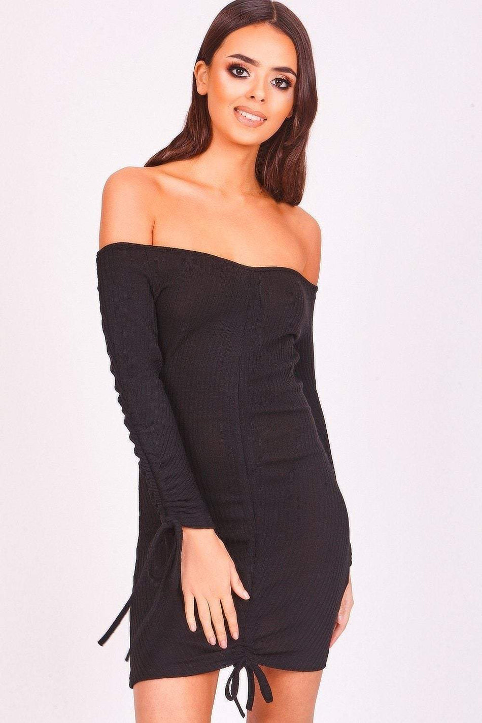 Black Ribbed Ruched Bardot Dress - KATCH ME
