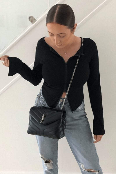 Black Ribbed Zip Up Crop Top - KATCH ME