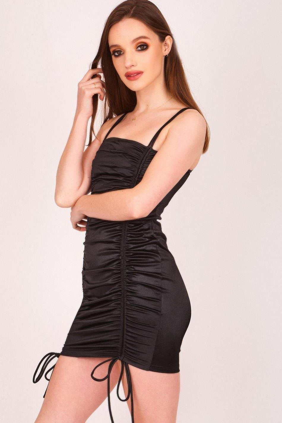 Black Ruched Front Satin Mini Dress - KATCH ME