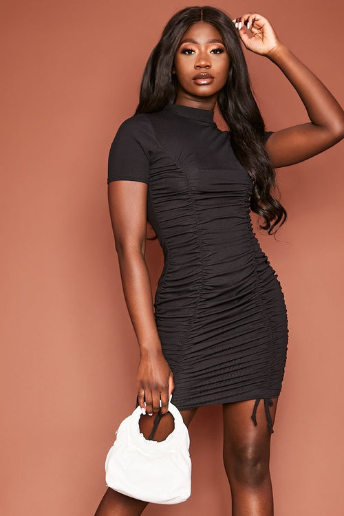 Black Ruched T-Shirt Dress - Delilah - KATCH ME
