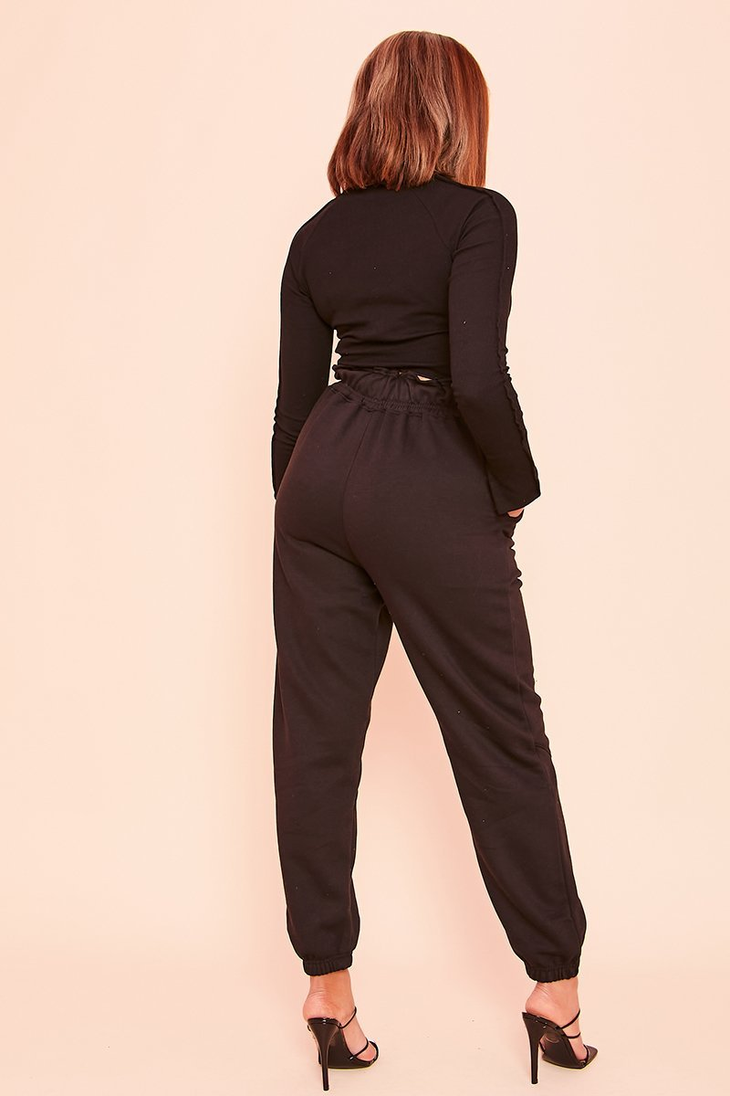 Black Ruched Waist Joggers- Onai - KATCH ME